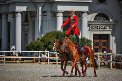 25 juillet 2015 Présentation cérémonieuse de l'école d'équitation de Kremlin sur VDNH à Moscou Image stock