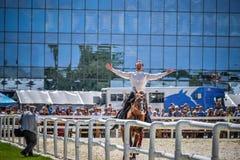 25 juillet 2015 Présentation cérémonieuse de l'école d'équitation de Kremlin sur VDNH à Moscou Photos stock
