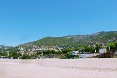 Juillet 2017 - protection spéciale sur le sable pour les parapentistes de débarquement sur Cleopatra Beach Alanya, Turquie Photographie stock libre de droits