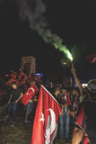 15 juillet protestations de tentative de coup à Istanbul Photos stock