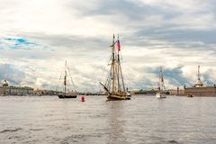 July 13, 2019 Baltic yacht week, near Peter and Paul fortress, St. Petersburg, Russia.