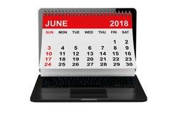 Juin 2018 calendrier au-dessus d'écran d'ordinateur portable rendu 3d Images libres de droits