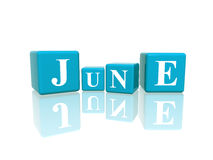 Juin en cubes 3d Image libre de droits