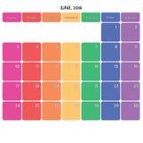 juin 2018 grands jours de la semaine de couleur de l'espace de note de planificateur sur le blanc Image libre de droits