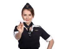 31 juin 2015 hôtesse de l'air dans l'uniforme d'olf de la ligne aérienne russe Aerof Image stock
