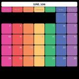 juin 2018 jours de la semaine spécifiques de couleur du grand espace de note de planificateur Photo libre de droits