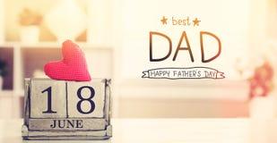 18 juin le meilleur message de papa avec le calendrier Images stock
