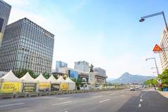 19 juin 2017 plaza de Gwanghwamun avec la statue de l'amiral Yi Images stock
