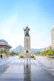 19 juin 2017 plaza de Gwanghwamun avec la statue de l'amiral Yi Photo stock