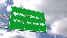 Juist en verkeerd besluitteken tegen blauwe hemel stock illustratie