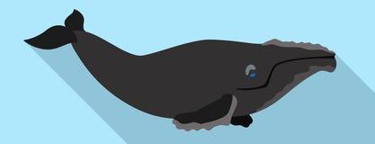 Juist walvissenpictogram, vlakke stijl royalty-vrije illustratie