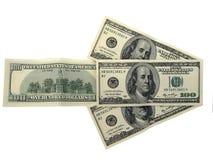 Juiste richting van dollars die op wit wordt geïsoleerd= Royalty-vrije Stock Fotografie