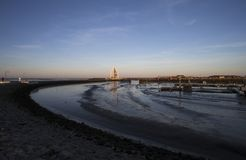 Juister hamn med gränsmärket Royaltyfria Foton