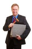 Juiz com gavel e arquivos Foto de Stock Royalty Free