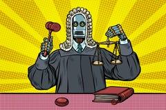 Juiz do robô nas vestes e na peruca ilustração stock