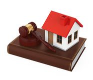 Juiz Gavel com a casa isolada Fotografia de Stock