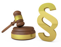 Juizes gavel e símbolo do parágrafo Fotos de Stock Royalty Free