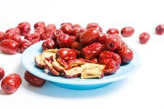 Jujube, Chinese dried red date fruit on a plate Stock Photos