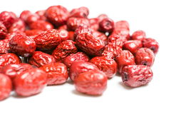 Jujube, Chinese dried red date fruit. On white royalty free stock images