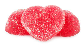 Jujube red jelly candies heart shape Royalty Free Stock Images