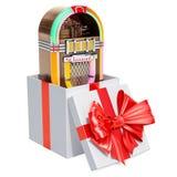 Juke-box binnen giftdoos, giftconcept het 3d teruggeven vector illustratie
