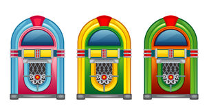 Jukebox. Three jukebox of various colors vector illustration