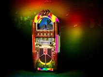 Jukebox. An old jukebox with rainbow lights colors a decrepit and dirty wall in a bar vector illustration