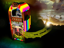 Jukebox. Coming out from an old fashioned jukebox with rainbow lights, several notes of music create a sunrise on a decrepit wall, like it was creating some hope vector illustration
