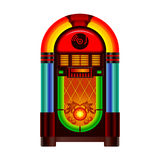 Jukebox. Retro jukebox music and dance player on white background Stock Photos