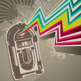 Jukebox banner. Designed retro banner with jukebox royalty free illustration