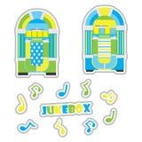 Jukebox e desenhos animados do vetor da nota musical apropriados para o grupo da etiqueta da criança ilustração stock