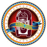 Jukebox label. Illustrated colorful label with jukebox stock illustration