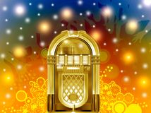 Jukebox party. Colorful illustration of golden jukebox party vector illustration