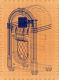 Jukebox - Retro Blueprint. Shoot of the Jukebox - Retro Blueprint stock illustration