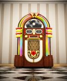 Jukebox standing on checkers ground next to the wall. 3D illustration.  royalty free illustration