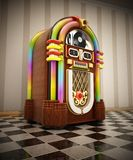 Jukebox standing on checkers ground next to the wall. 3D illustration.  stock illustration