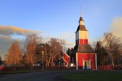 Jukkasjarvi (Jukkasjärvi), la iglesia de madera más vieja construida hacia 1607 /1608 adentro en Kiruna Municipality, el condado Foto de archivo