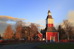 Jukkasjarvi (Jukkasjärvi), the oldest wooden church built around 1607/1608 in in Kiruna Municipality, Norrbotten County, Sweden. Details of Kiruna Church in Stock Photo