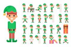 Julälvaflickan Santa Claus Helper i olikt poserar och åtgärdar tonårig ferie för gåva för nytt år för teckensymbolsuppsättning Arkivfoton