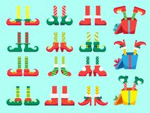 Julälvafot Skor för älvor fot, ben för Santa Claus hjälpredadvärg i flåsanden Xmas-gåva och gåvor isolerade vektorn stock illustrationer