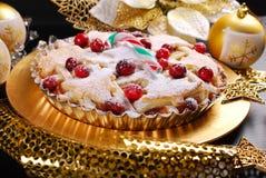Juläppelpaj med tranbäret i glamourstil Arkivbild