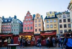 Julöppen marknad i Stockholm arkivbild