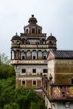 Jul 2017 – Kaiping, China – Ruishi Lou in Kaiping Diaolou JinJiangLi village, near Guangzhou. Built by rich overseas Chinese, these family houses royalty free stock image