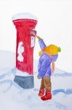 Jul önskar, den röda bokstavsasken, barnet, vinter. Royaltyfri Fotografi