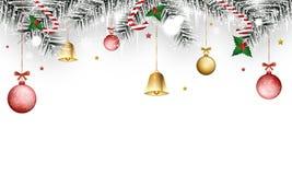 Jul övervintrar banret med bollar för järnekbär, för guld- klockor, filial-, istapp-, trollspö-, snöflinga- och jul vektor illustrationer