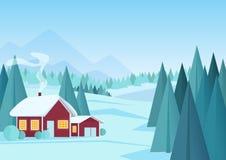 Jul övervintrar landskap med det lilla röda huset i pinjeskogvektorillustration Tecknad filmvinterlandskap vektor illustrationer