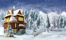 Jul övervintrar lycklig plats Arkivfoton