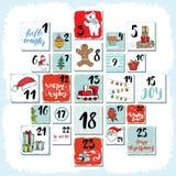 Jul Advent Calendar Hand drog beståndsdelar och nummer Vinterferier calendar kort den fastställda designen, vektorillustration royaltyfri illustrationer