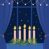 Jul Advent Wreath med stearinljus på fönsterfönsterbräda Arkivfoto