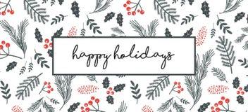 Jul affisch, reklamblad, baner, hälsningkort Jul mönstrar med ris, blommor, sidor på en vit bakgrund royaltyfri illustrationer